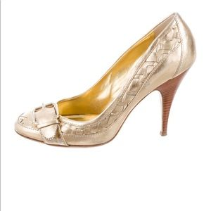 Burberry Metallic Gold Buckle Accented Pumps